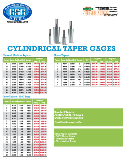 Cylindrical Taper Gages Flyer