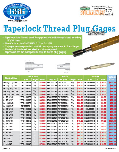 Taperlock Thread Plug Gages Flyer