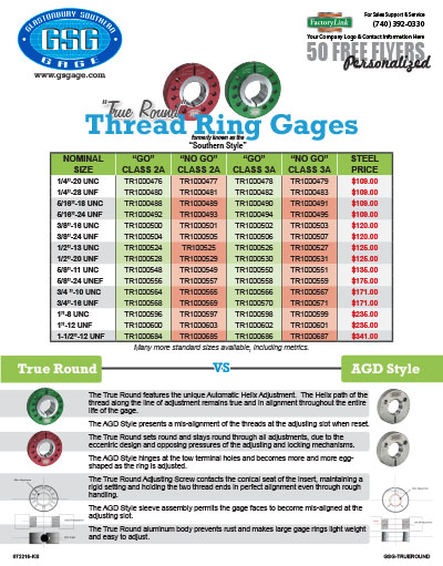 True Round Thread Ring Gages Flyer